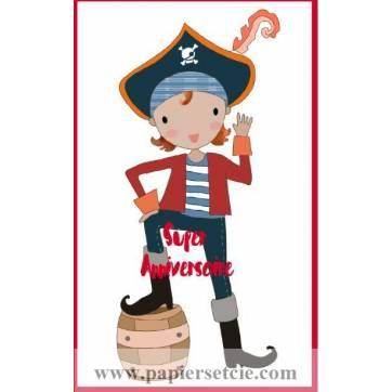 Carte simple artisanale Bon Anniversaire Pirate Jack