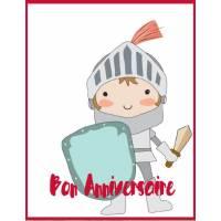 Carte simple artisanale Bon Anniversaire Chevalier Armure