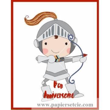 Carte simple artisanale Bon Anniversaire Chevalier Arc