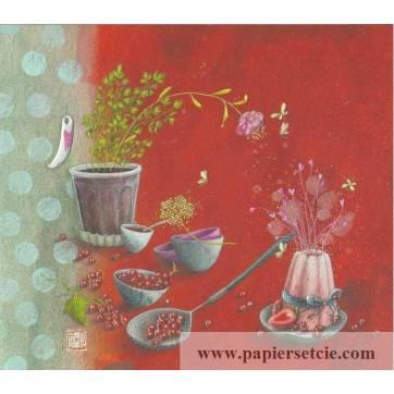 Carte double Gaelle Boissonnard  14 x 15,5 La Charlotte aux fraises