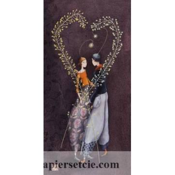 Carte double Gaelle Boissonnard  21 x 10,5 Les amoureux coeur de feuillage