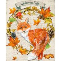 "Carte artisanale Vintage ""Welcome Fall"" Renard"