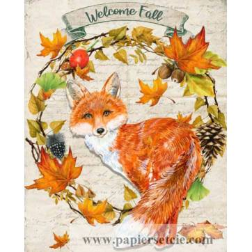 "Carte artisanale Vintage ""Wellcome Fall"" Renard"