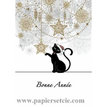 Carte double Bonne Année Chat Bonnet de Noël