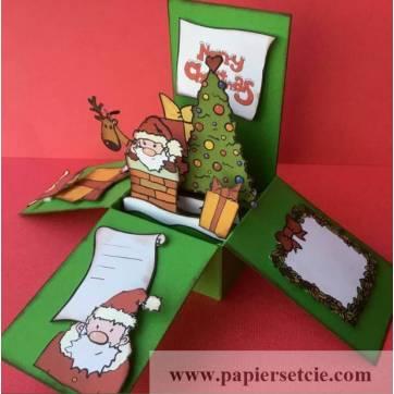 "Carte Noël 3 D Pop Up DIY à monter ""Père Noël"""