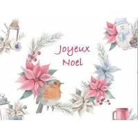 Carte artisanale Joyeux Noel Couronne de Poinsettias et Rouge Gorge