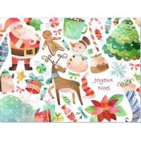 Carte artisanale Joyeux Noel Père Noel Sapin et Renne