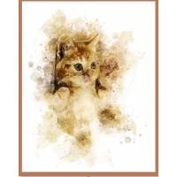 Carte artisanale Aquarelle Chat Chaton Roux