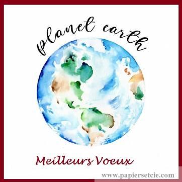 Carte artisanale Meilleurs Voeux Planete Earth