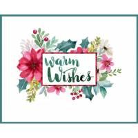 Carte artisanale Meilleurs Voeux Warm Wishes Cadre Poinsettias