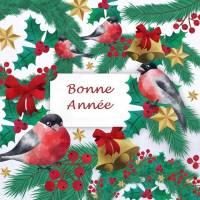 Carte artisanale Bonne Année Rouge Gorges et Houx