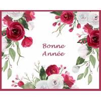Carte artisanale Bonne Année Cadre de Roses Fushias et blanches