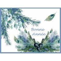 Carte artisanale Bonne Année Branches de Sapin et Baies bleues