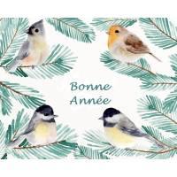 Carte artisanale Bonne Année 4 Oiseaux et Sapin
