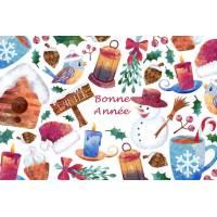 Carte artisanale Bonne Année Bonhomme de neige et Oiseau