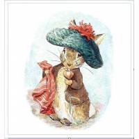 Carte artisanale Vintage Beatrix Potter Peter Rabbit et son béret vert