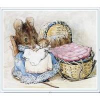 Carte artisanale Vintage Beatrix Potter Maman et Bébés souris