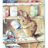 Carte artisanale Vintage Beatrix Potter Souris dans la Cuisine