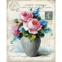 """Carte artisanale Vintage """"Vase de Roses et Myosotis"""""""