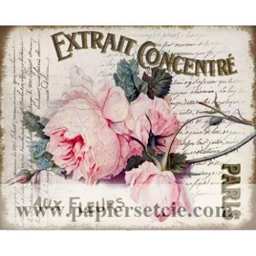 """Carte artisanale Vintage Paris """"Extrait concentré aux Fleurs"""""""