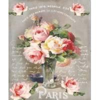 """Carte artisanale Vintage Paris """"Médaille d'Or""""Vase de Roses"""