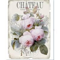 """Carte artisanale Vintage Paris """"Chateau"""" Roses anglaises"""