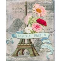 """Carte artisanale Vintage Paris """"Parfum des Balkans"""" Tour Eiffel"""