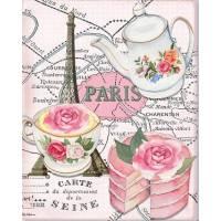"""Carte artisanale Vintage Paris """"Plan et Tea Time""""Gateau à la Rose"""