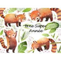 Carte artisanale Une Super Année Pandas roux