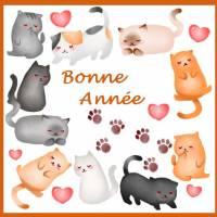 Carte artisanale Bonne Année Les Chats
