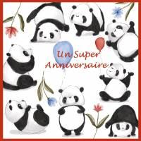 """Carte artisanale Bon Anniversaire""""Les Pandas"""""""