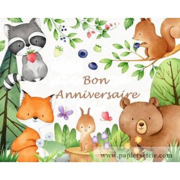 """Carte artisanale Bon Anniversaire""""Dans la Forêt"""""""