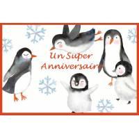 """Carte artisanale Un Super Anniversaire """"Les Pingouins"""""""