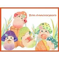 """Carte artisanale Bon Anniversaire """"Les Champignons"""""""