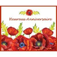 """Carte artisanale Heureux Anniversaire """"Les coquelicots"""""""