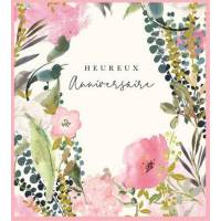 Carte Anniversaire Stephanie Dyment Heureux Anniversaire Fond blanc,fleurs roses et Eucalyptus