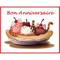 "Carte artisanale Chat Bon Anniversaire ""Banana Chat"""