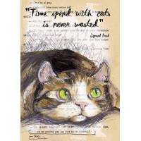 "Carte artisanale Chat aux yeux verts ""Time spent with cats is never wasted"" Sigmund Freud"