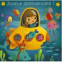 Carte Elen Lescoat Joyeux Anniversaire Le Sous Marin jaune
