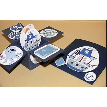 "Carte 3 D Pop Up Bleu marine ""Les Pirates"""