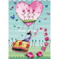 Carte Mila Marquis La Montgolfière coeur et fleurs