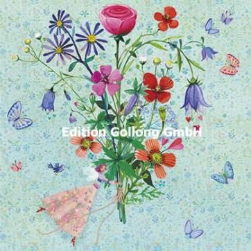 Carte Mila Marquis carrée  La petite Fée et le bouquet de Fleurs