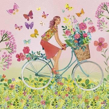 Carte Mila Marquis La jeune femme sur le vélo fleuri