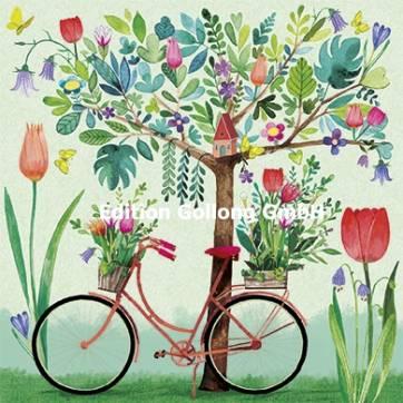 Carte Mila Marquis La bicyclette près de l'arbre fleuri