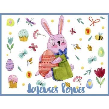 Carte de Pâques Lapin et Oeuf de Pâques