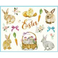 """Carte de Pâques """"Happy Easter"""" Lapins et Poussins"""