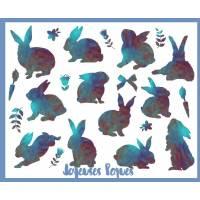 "Carte de Pâques ""Joyeuses Pâques"" Lapins bleus"