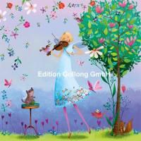 Carte Mila Marquis La jeune femme et le violon dans le jardin