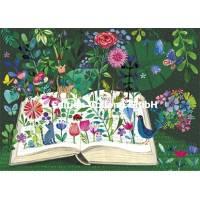 Carte Mila Marquis Livre fleuri avec chats et oiseau
