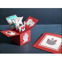 Carte 3 D Pop Up rouge vif les chatons drôles